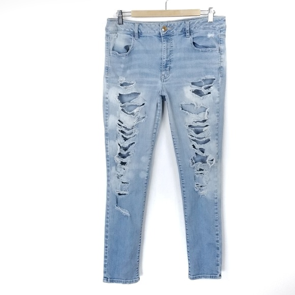 American Eagle Outfitters Denim - American Eagle Hi Rise Jegging Jeans Destroyed 14